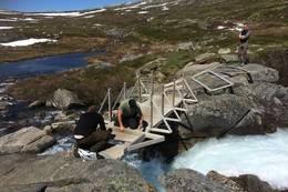 Brua blir lagt ut i Grønndalen - Foto: Torill Opedal Hauge