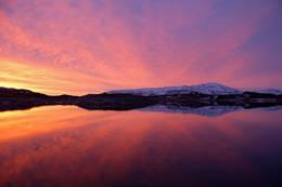 Solnedgang over Ståvatnet - Foto: Ukjent