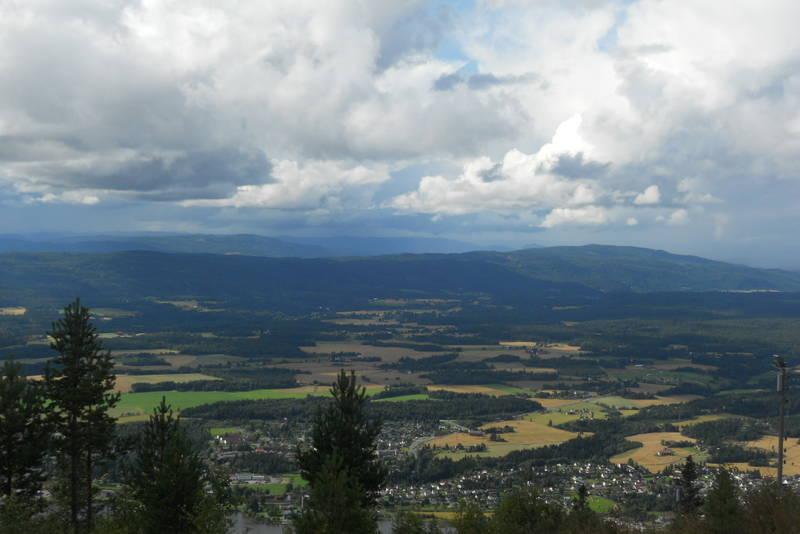 Utsikt fra Hvalsknatten mot Vikersund med omland.