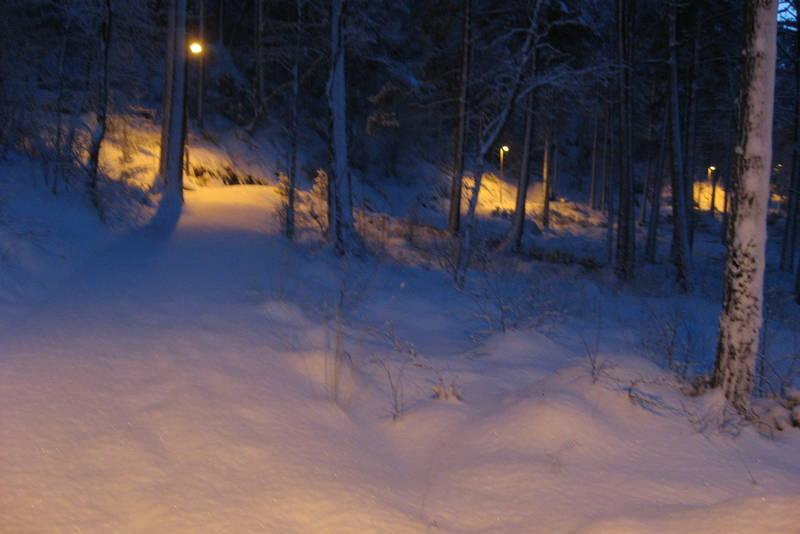 Lauvnestien har belysning slik at den kan benyttes på kveldstid