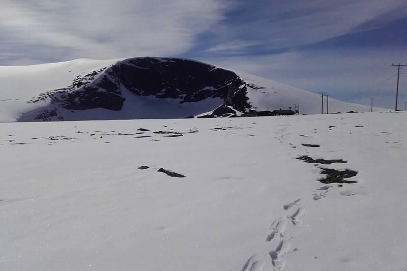 Kjelhø sett fra Juvflye, Juvasshytta nederst i bilde
