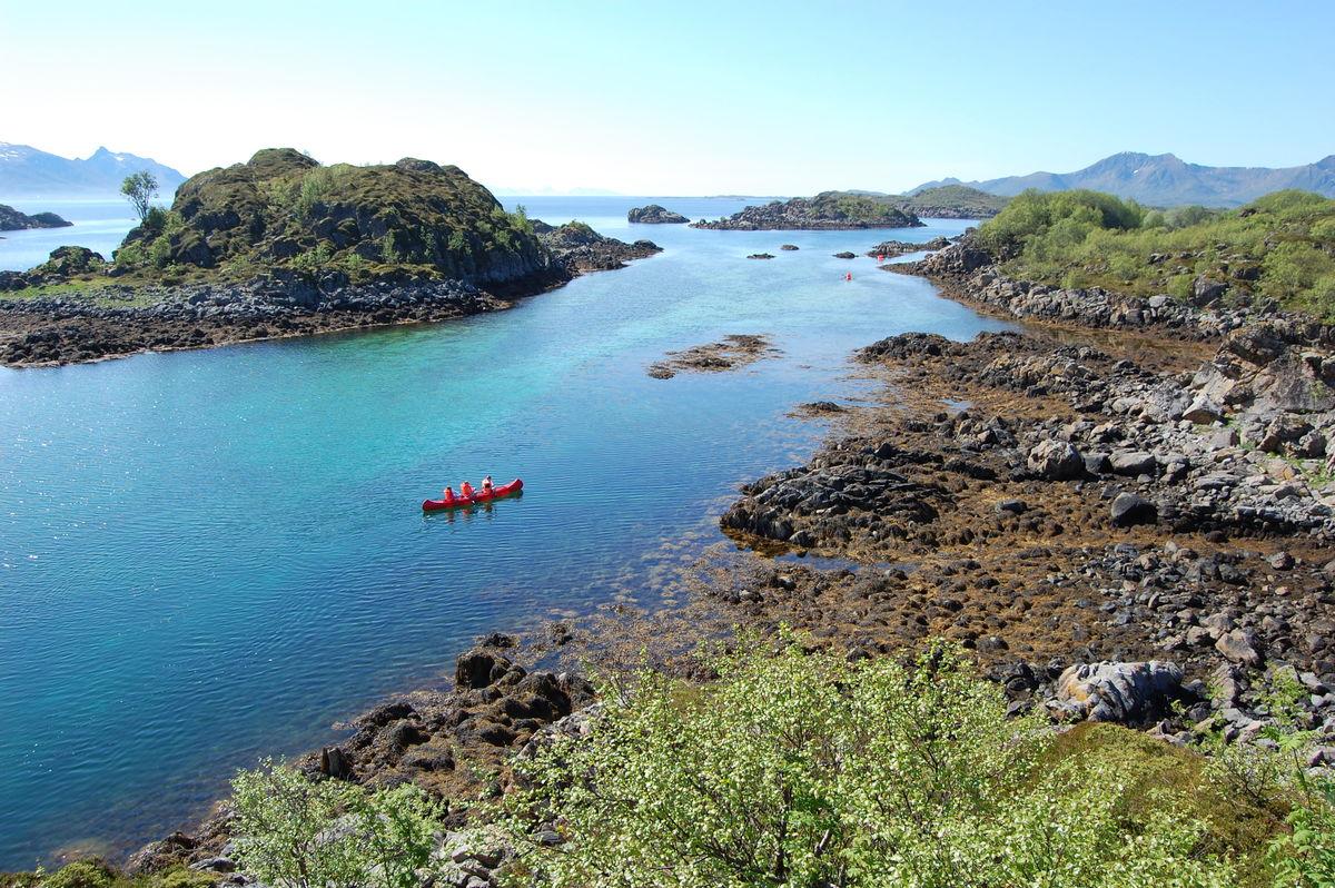 Fine forhold for kanopadling rett ved Guvåghytta