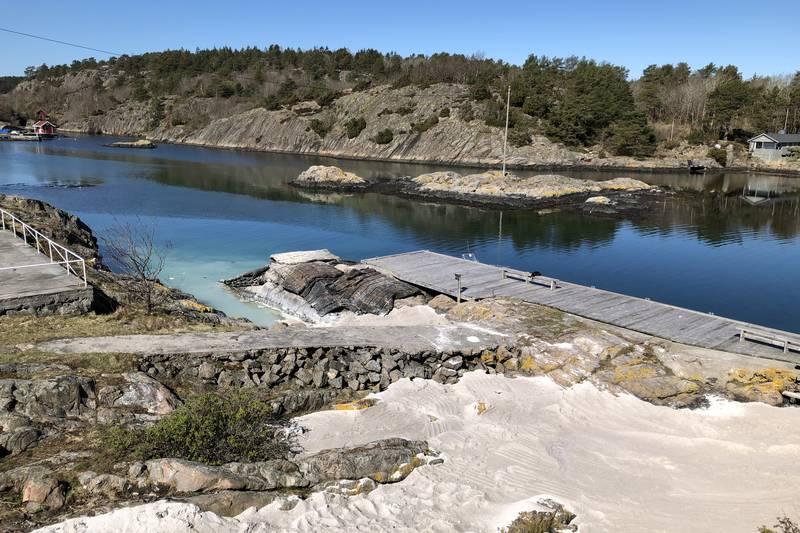 Ny sandstrand ved Seilerhytta i Tvedestrand