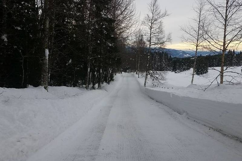 Vinterbrøytet vei opp til Rønningen