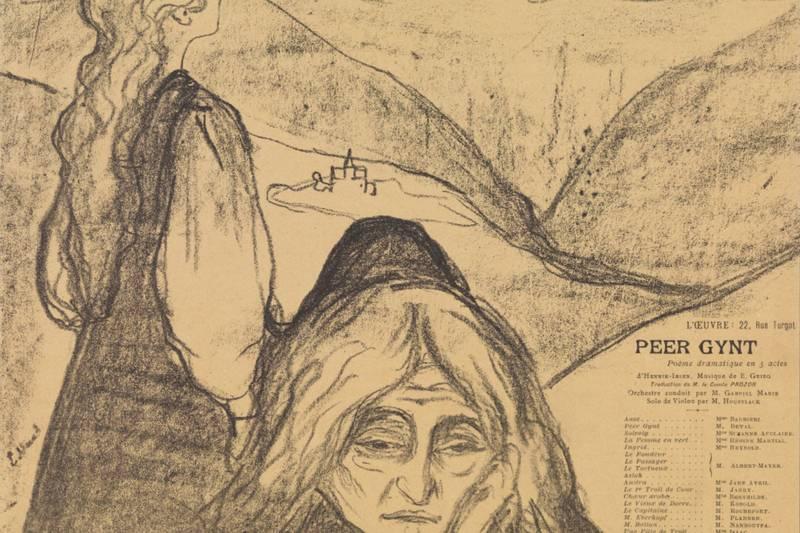 BUKKERITTET: Jotunheimens største kjendis er Peer Gynt, her illustrert med en fransk teaterplakat fra 1898 signert Edvard Munch.