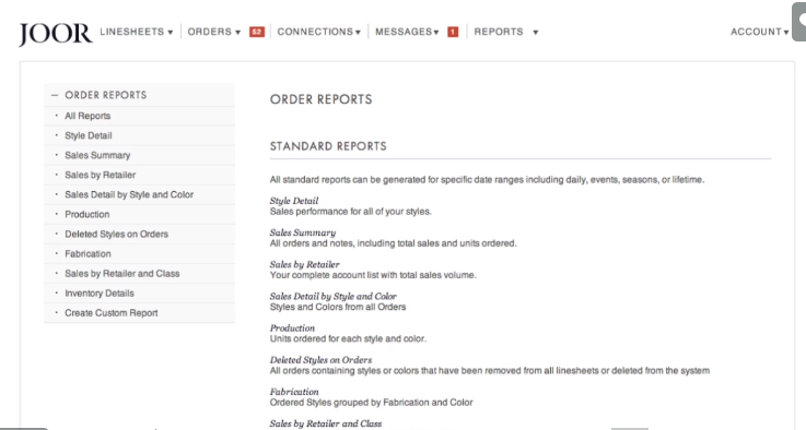 order reports in B2B marketplace