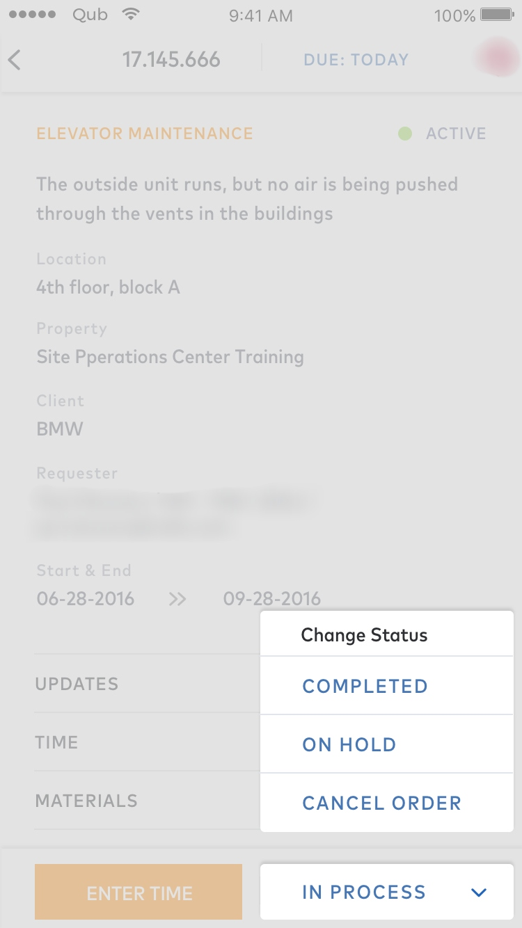 facility management app work status