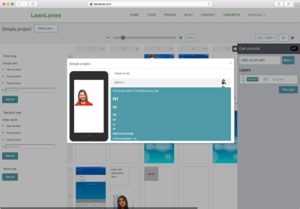 Leanlines project presenter screen