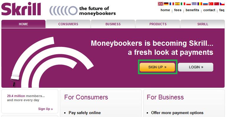 Sign-se em Moneybookers