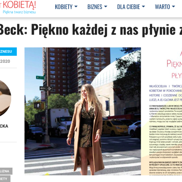 """https://www.sukcesjestkobieta.pl/anna-beck-piekno-kazdej-z-nas-plynie-z-wnetrza/  """"""""Sukces jest Kobietą"""" / foto Maciej Grochala .  """""""