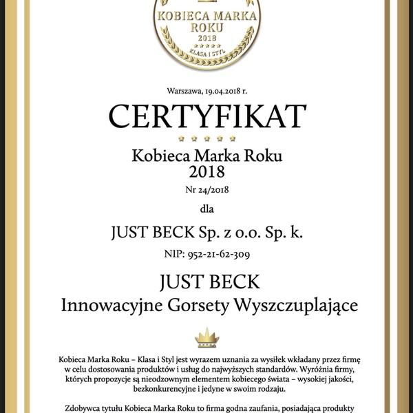 Certyfikat Kobieca Marka Roku 2018