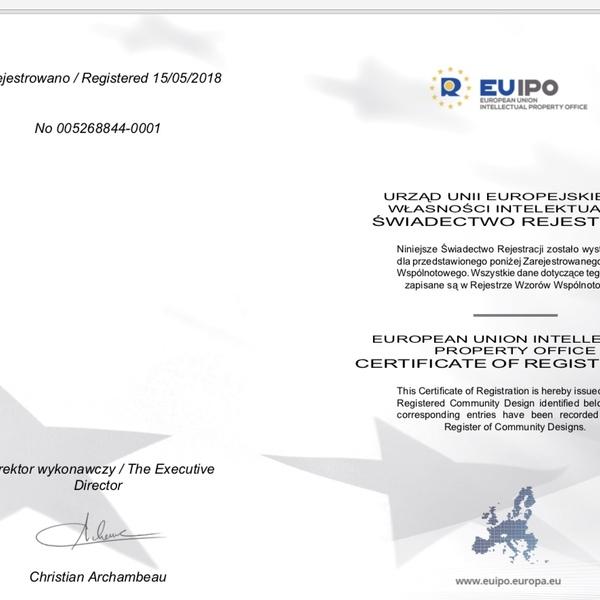 """URZĄD UNII EUROPEJSKIEJ D.S. WŁASNOŚCI INTELEKTUALNEJ- ŚWIADECTWO REJESTRACJI  """"CERTIFICATE  OF REGISTRATION """""""