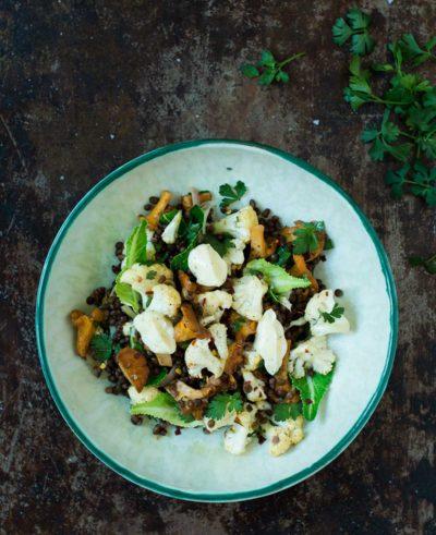 Recept: Sallad med linser, blomkål och kantareller | Frk. Kräsen