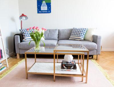 soffbord i guld och marmor – IKEA hack