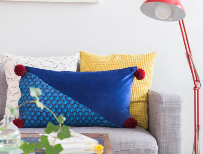 DIY Velvet and pom pom pillow by Dnilva