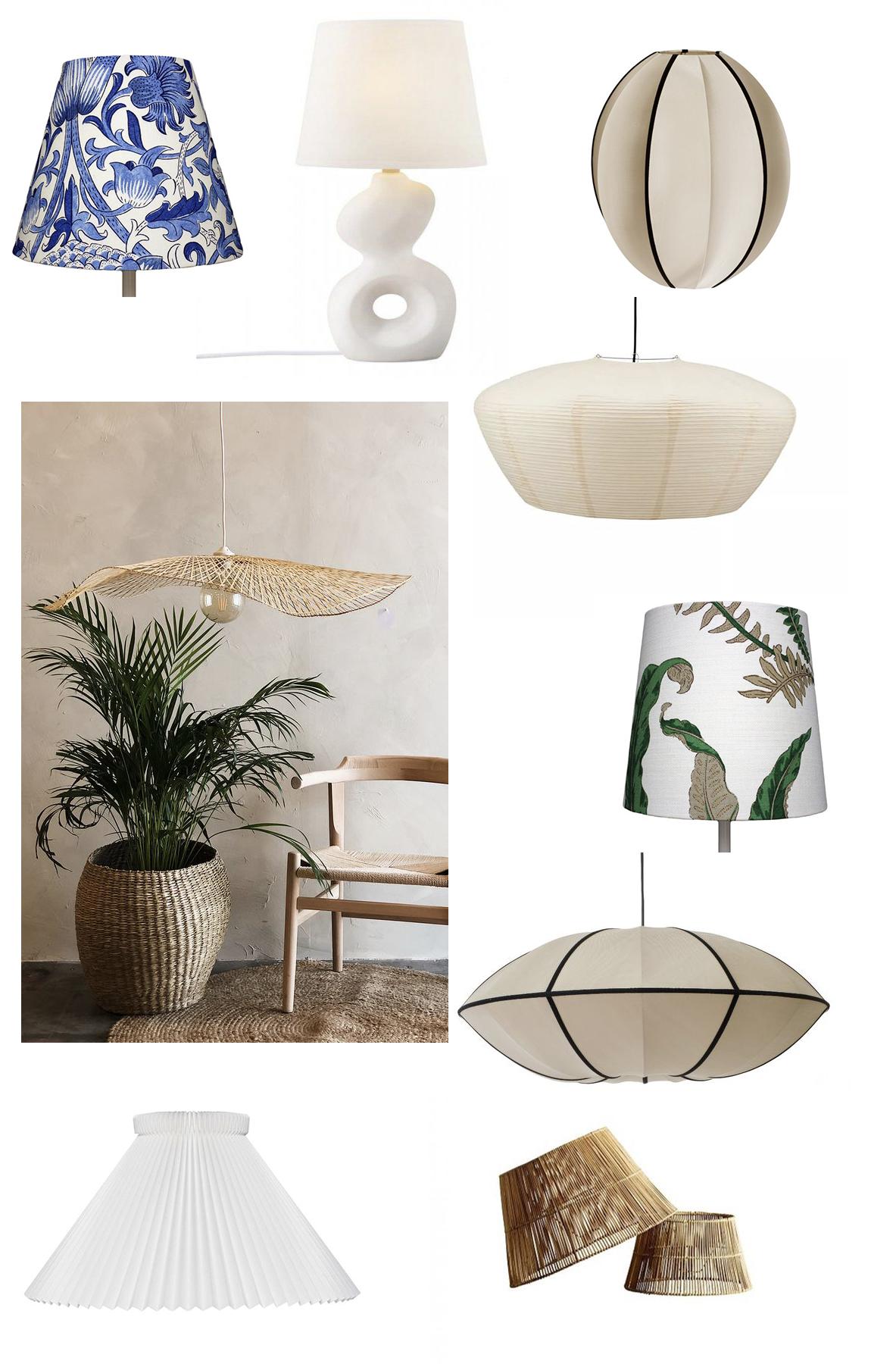 Lampskärmar i linne, rotting, papper och plisserad stil.