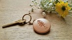 Round wooden keyring engraved with your favourite tree