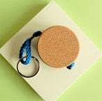 Flat Floating Cork Keyring with chain