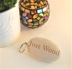 Engraved Wooden Pebble Keyring