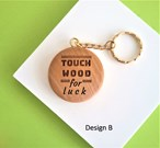 'Touch Wood' for luck wooden keyring