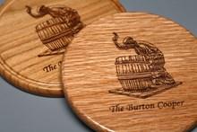 Burton Cooper Laser Engraved Cherry or Oak Wooden Coaster