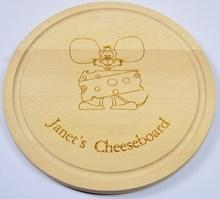 Personalised laser engraved turned wooden cheeseboard