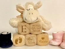 Personalised Wooden Baby Blocks | Newborn Keepsake Gift