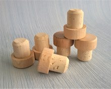 Natural Cork Stoppers with Wooden Top - Large