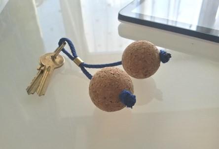 Wooden Cork Ball Keyring - Small