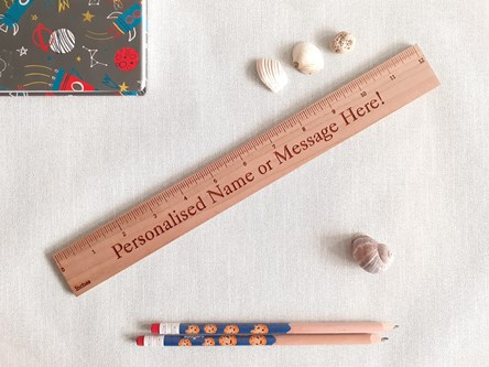 Personalised natural hand crafted wooden ruler