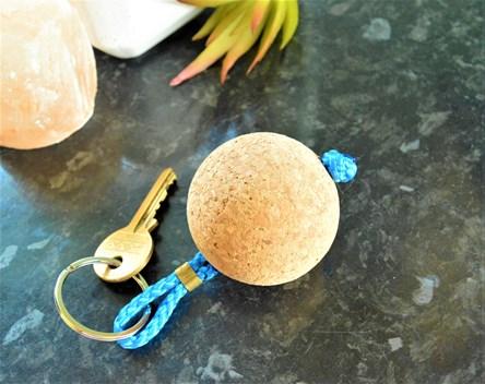 Wooden Cork Ball Keyring