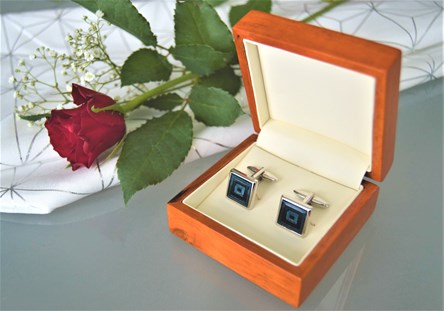 Laser Engraved Wooden Cufflink Box