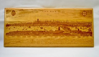 A Limited Edition Great Fire of London 1666 Cherry Wooden Plaque,