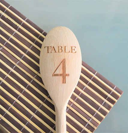 Table Number Design - Personalised Wooden Spoon