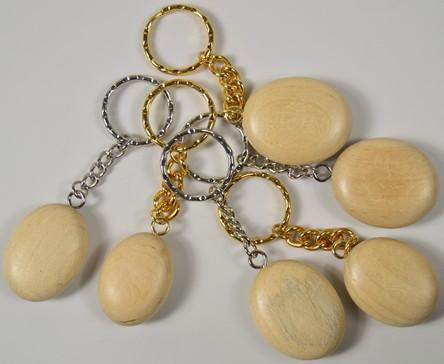 Wooden Pebble Keyring