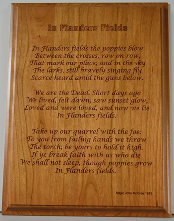 """In Flanders Fields"" Wooden Wall Plaque"