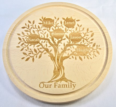 Personalised Wooden Family Tree Cheeseboard