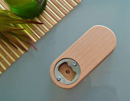 Oval Wooden Pocket Bottle Opener - Plain