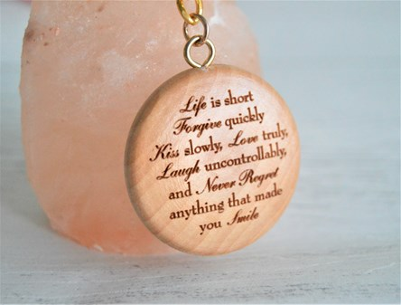 Laser Engraved Wooden Keyring - Life is Short