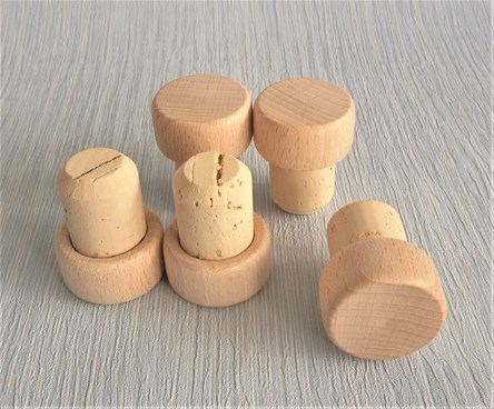 Natural Cork Stoppers with Wooden Top