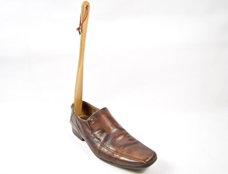 Wooden Shoe Horn natural Beech Wood 37cm - high quality with leather loop wood