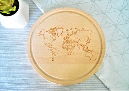 World Map Wooden Cheese Board