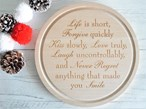 Engraved Wooden Cheese Board - Life Is Short
