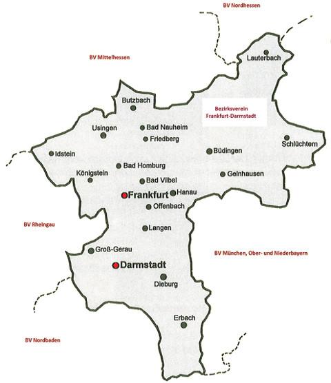 Karte des VDI Bezirksverein Frankfurt-Darmstadt e.V.