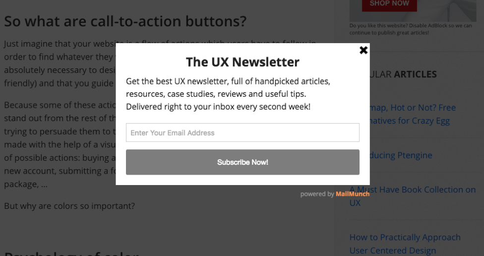 newsletter sign up pop-up