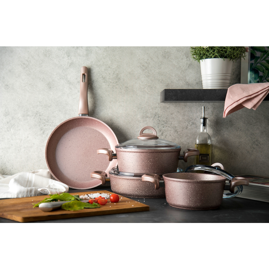Emsan Premium Granit 7 Parça Tencere Seti Golden Pink