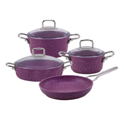 Emsan Premium Granit 7 Parça Tencere Seti Violet Metal