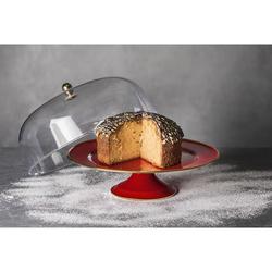 Emsan Troy Emaye 30 cm Ayaklı Kek Fanus Kırmızı