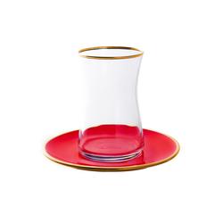 Emsan Heybeli Troy 12 Parça 6 Kişilik Çay Set Kırmızı