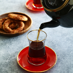 Emsan Heybeli 12 Parça 6 Kişilik Çay Set Kırmızı
